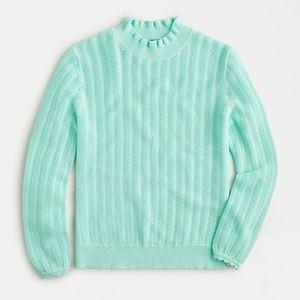 NEW J. Crew Pointelle ruffle mockneck sweater
